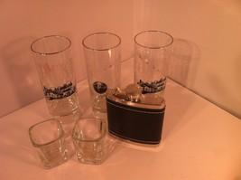 6 PC --JACK DANIELS--LEATHER FLASK / 2 SHOT GLASSES / 3 GLASSES--SHIPS F... - $26.93