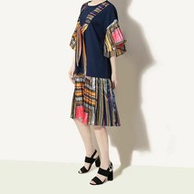New Spring Summer Round Neck Short Flare Sleeve Print Pleated Loose Dres... - $43.96