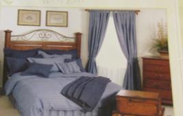 STATUS QUO FULL/QUEEN DUVET COVER/WINDOW PANEL SET/2 LINEN BLUE/WHITE PL... - $449.90