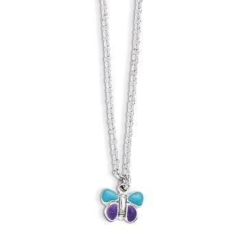 "Primary image for Lex & Lu Sterling Silver Enamel Butterfly 15"" Necklace"