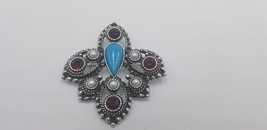 Vintage Signed Sarah Coventry Gun Metal Celtic Purple, Pearl & Turquoise... - $17.38