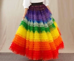 Adult Rainbow Tulle Skirt Long Colorful Rainbow Tutu Rainbow Costume High Waist  image 9