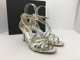 Badgley Mischka Lillian Silver Metallic Leather Women's Evening High Hee... - $67.71