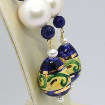 Yellow Gold Earrings 18K Pearls Sapphires and Drop Hand Painted by Made in Italy image 2