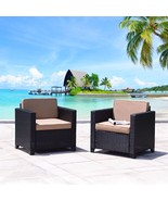 2 Patio Rattan Wicker Sectional Chairs Set Outdoor Dining Garden Lounge ... - $189.99