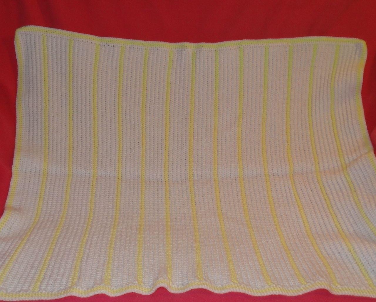 Handmade Crochet Baby Girl Boy Blanket Afghan White Yellow Unisex Newborn Stripe image 7