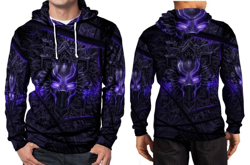 Black panther purple neon hoodie fullprint men