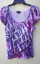 """"""" AGB """" SIZE MEDIUM PURPLE AND WHITE BLOUSE SHORT SLEEVE - $27.72"""