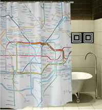 LONDON Subway Map Underground Cool Design 180  x 180 cm Polyester Shower Curtain - $26.99