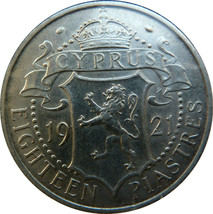 CYPRUS 1921 18 PIASTRES SILVER COIN,XF,KM#14 - $365.00