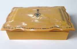 Vintage Amber Celluloid Hinged Jewelry Trinket Box Art Deco Scallop - $26.95