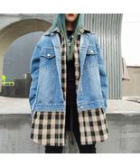 Fashion plaid shirt denim stitching fake two-piece cardigan top women - $92.50