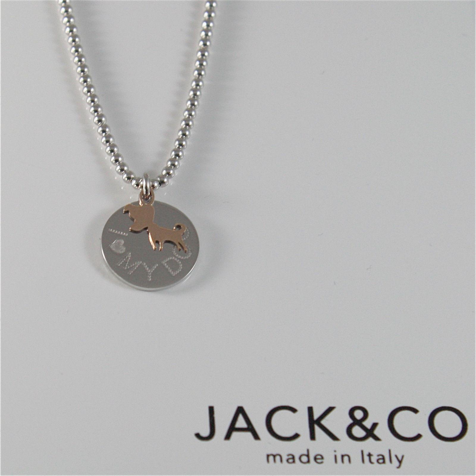 COLLIER PERLE EN ARGENT 925 JACK&CO AVEC CHIEN JACK OR ROSE 9KT JCN0549