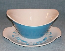 Vtg Royal China- Blue Heaven Gravy Boat And UNDERPLATE-Turqouise Blue /White Vgu - $19.95