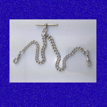 Beautiful & Vintage Victorian Silver Double Albert Fusee Pocket Watch Chain 1896 - $133.50