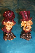 1940's Bone China English Early American Country Old Man & Woman Busts #... - $19.79