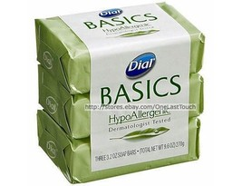 DIAL 3pc Bar Soap BASICS HypoAllergenic DERMATOLOGIST TESTED 9.6 oz Tota... - $2.98