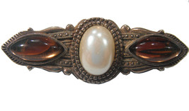 Gold Tone C Clamp Brooch With 3 Stones Vintage Vtg 1950s 50s Retro Art Deco - $12.37