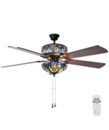 """River of Goods Tiffany Style 52"""" Stained Glass LED Ceiling Fan + Remote ... - $350.00"""