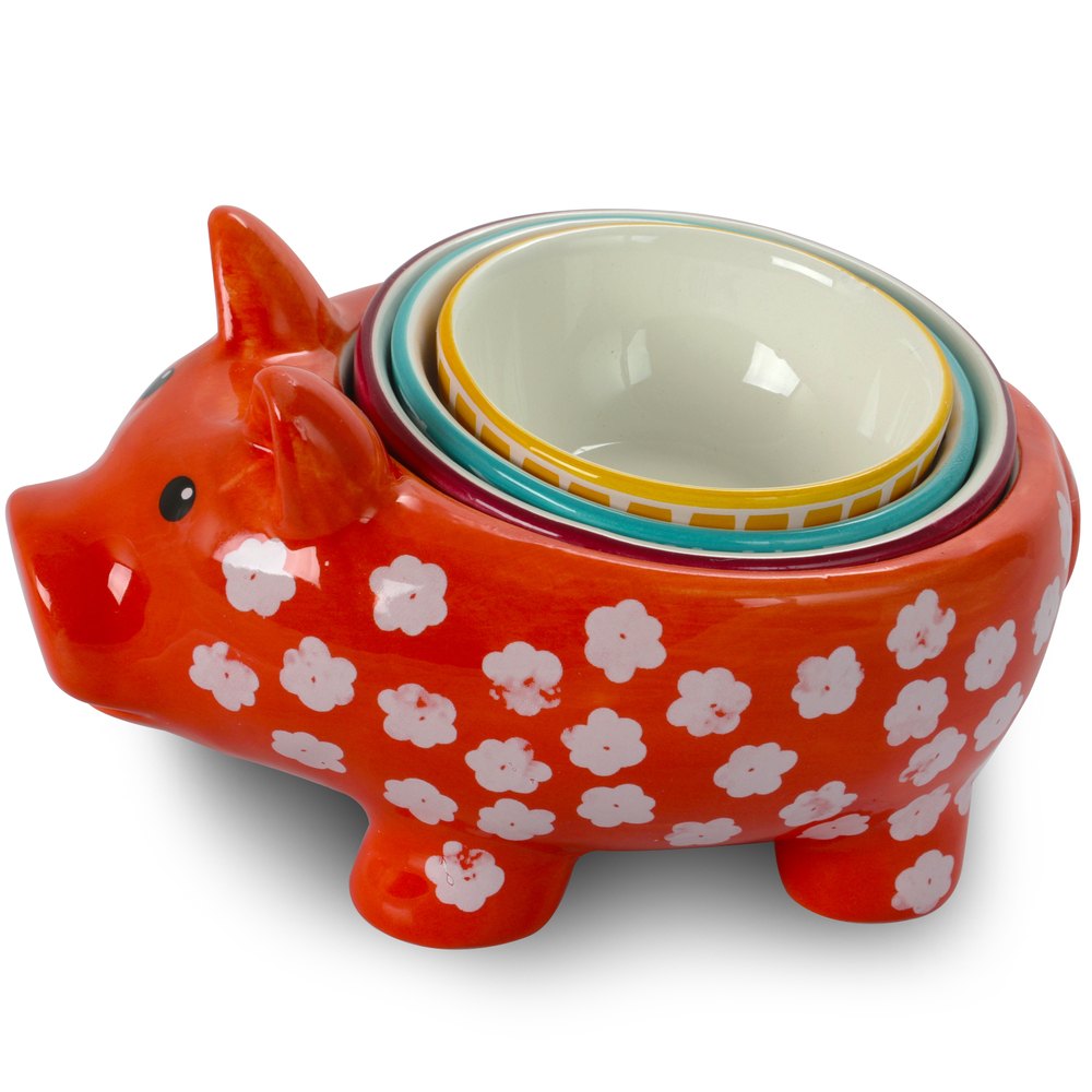 Primary image for Urban Market Life on the Farm 4 Piece Durastone Figural Pig Measuring Cup Set in