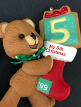 Hallmark 1999 Child's 5th Christmas Ornament Bear Vintage 90s Keepsake - $12.99