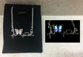 BUTTERFLY Love Heartbeat GLOW IN THE DARK Blue Purple Silver Charm Necklace - $14.20