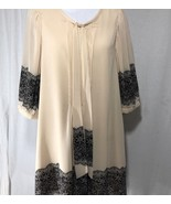 Darling Boutique Beige Sheer Blouse Size Medium Black Accents Round Neck... - $74.84