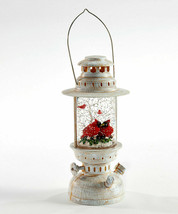 """10""""  Water Lantern w Two Red Cardinals - Lights Up w Floating Glitter Christmas"""