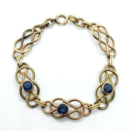"Carl Art Vintage 12k Gold-Filled Blue Rhinestone Bracelet 7.5"" FREE Shipping"