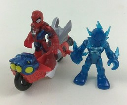 Super Hero Squad Marvel Spider Man Motorcycle Electro 3pc Lot Hasbro B10 - $16.00