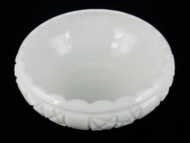 Fenton Milk Glass Serving Bowl, Block & Star Pattern, Footed, Curled Sca... - $24.45
