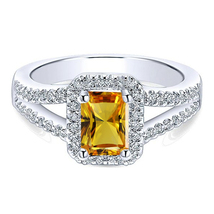 Rectangular Shape Yellow Sapphire White Gold Plated 925 Silver Engagemen... - $81.20