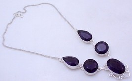 Amethyst Silver Overlay Handmade Jewelry Necklace 44  Gr. f-295-050116-36 - $25.20