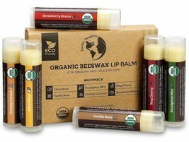 Organic Beeswax Lip Balm Chapstick Eco-Friendly 6 Pack Set Mint Coconut ... - $25.00