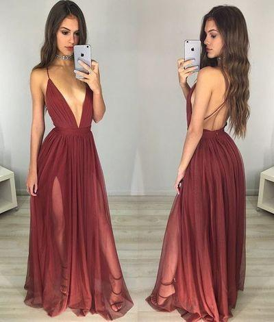 sexy prom dress,long Prom Dresses,v-neck prom dress,backless prom dresses
