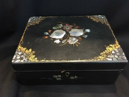 Vintage Black Lacquered box with intricate mother of pearl decorations - $350.00