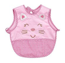 Cute Cartoon Cat Sleeveless Baby Bibs Baby Feeding Bibs Light PINK, 0-1.5 Years
