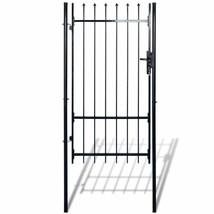 Garden Metal Gate Fence Single Outdoor Yard Patio Door Black Steel Spear... - $198.21