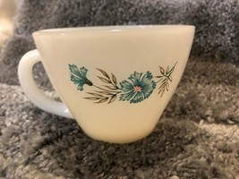 Fire King Ovenware Milk glass Bonnie Blue Cup Blue Carnation MINT - £2.39 GBP