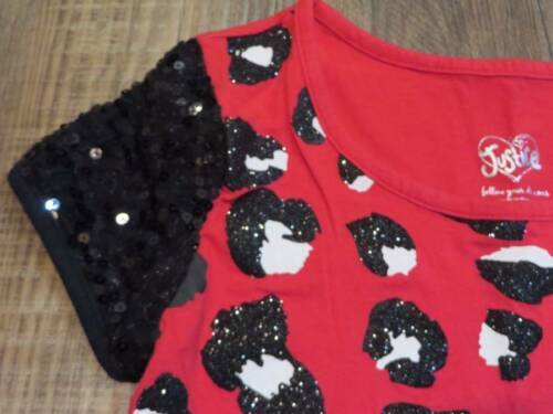 5ad251f84c77 Justice Red & Black Glitter Sequin Animal Print Crop Top Girls Size 10