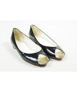 Chanel Black Patent Leather Silver Tone V Shaped Peep Toe Ballet Flats S... - $285.00