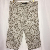 Nine West  sz 12/waist 30 Khaki Tan Floral Womens Crop Jeans Pants Cuffed - $25.74
