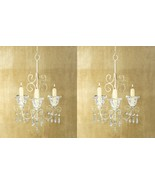 2 French Provincial Ivory Scrollwork Candle Holder Chandeliers w/ Chain ... - $39.45