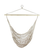 "Northlight 39"" x 43"" White Cotton Netting Hammock Chair with Wooden Bar - $48.25"