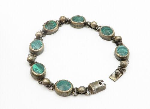 MEXICO 925 Silver - Vintage Malachite Inlay Round Link Chain Bracelet - B6191