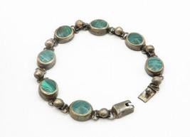 MEXICO 925 Silver - Vintage Malachite Inlay Round Link Chain Bracelet - B6191 image 2