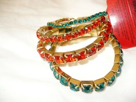 Holiday Time Women's Fashion Jewelry Gold Tone Red & Green Stretch Bracelets 4  - $12.86