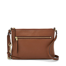Fossil Fiona EW Medium Brown Leather/PVC Trim Zipper Closure Crossbody - $239.99