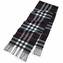 Ginga's Galleria Classic Navy Blue Plaid Oblong Tassel Scarf - $14.00