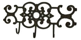 Cast Iron Wall Mount 3 Hook Coat Hat Key Towel Hook Hanger - $36.12